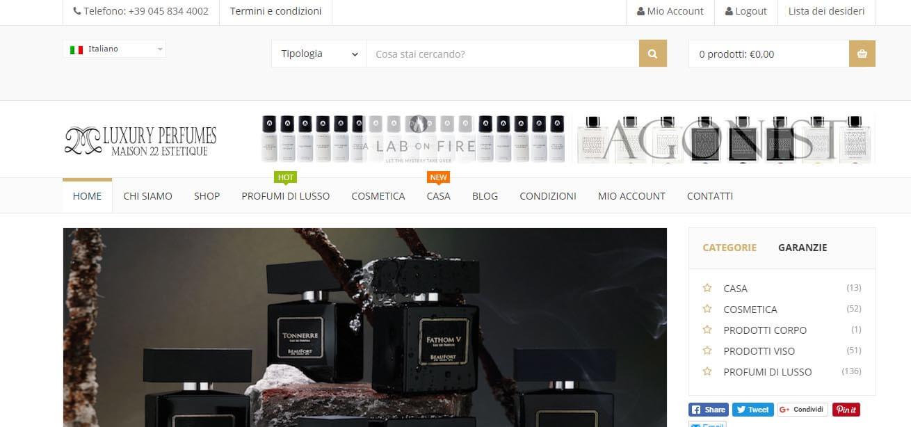 Sito Wordpress E-commerce profumi